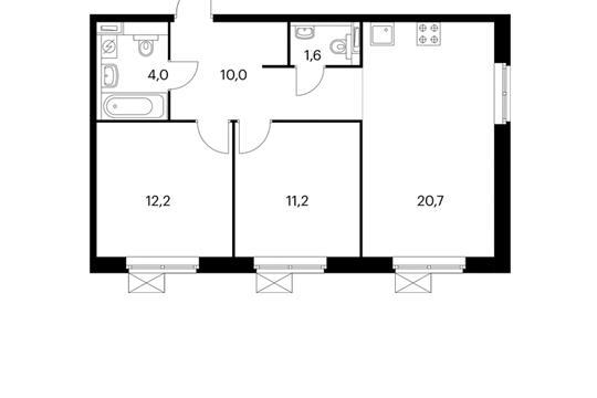 2-комнатная квартира, 59.7 м<sup>2</sup>, 3 этаж