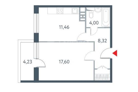 1-комнатная квартира, 42.9 м<sup>2</sup>, 14 этаж