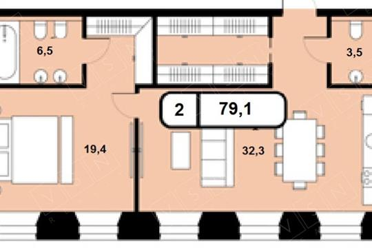 2-комнатная квартира, 79 м<sup>2</sup>,  этаж