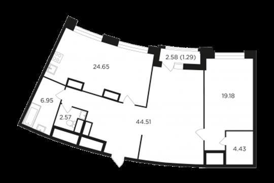 1-комн квартира, 103.65 м2, 20 этаж