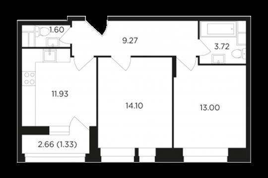 2-комнатная квартира, 54.95 м2, 12 этаж