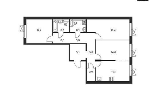 3-комнатная квартира, 83.6 м<sup>2</sup>, 5 этаж