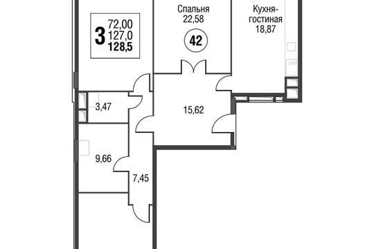 3-комнатная квартира, 129.4 м<sup>2</sup>, 4 этаж