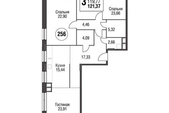 3-комнатная квартира, 121.37 м<sup>2</sup>, 6 этаж