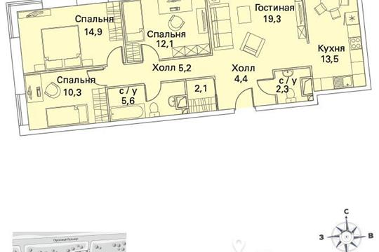 4-комнатная квартира, 91 м<sup>2</sup>, 7 этаж