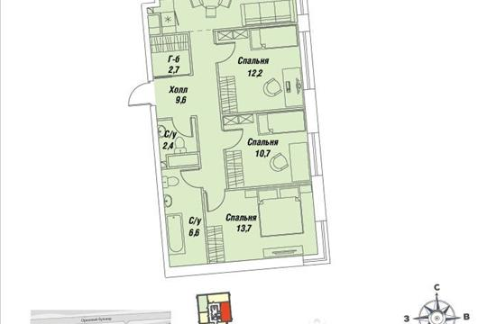 3-комнатная квартира, 75.9 м<sup>2</sup>, 26 этаж