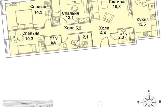 4-комнатная квартира, 91 м<sup>2</sup>, 12 этаж