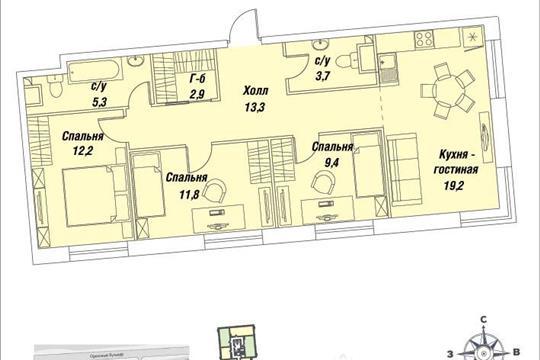 3-комнатная квартира, 77.8 м<sup>2</sup>, 14 этаж