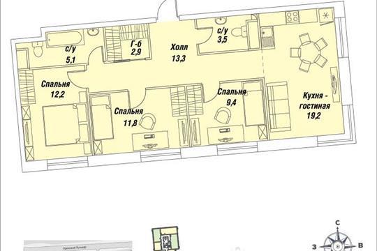 3-комнатная квартира, 77.4 м<sup>2</sup>, 19 этаж