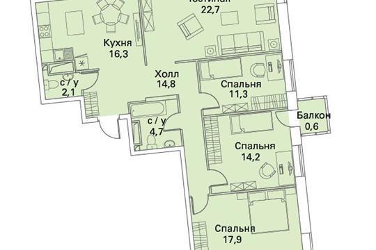 4-комнатная квартира, 106.3 м<sup>2</sup>, 22 этаж
