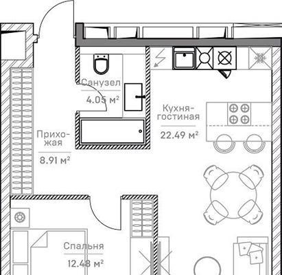 2-комн квартира, 48.38 м2, 5 этаж - фото 1