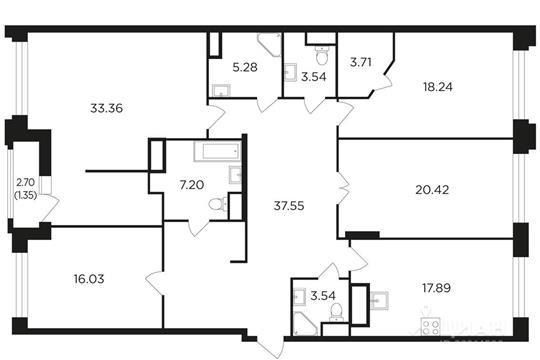 4-комнатная квартира, 168.11 м<sup>2</sup>, 20 этаж
