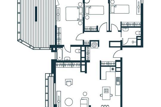 4-комнатная квартира, 138.39 м<sup>2</sup>, 12 этаж