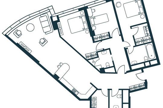 4-комнатная квартира, 123.11 м<sup>2</sup>, 14 этаж
