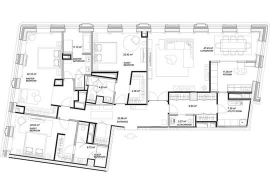 3-комнатная квартира, 201.3 м<sup>2</sup>, 7 этаж