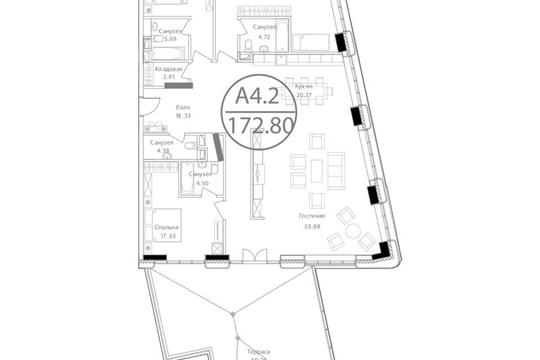 3-комнатная квартира, 236.8 м<sup>2</sup>, 17 этаж