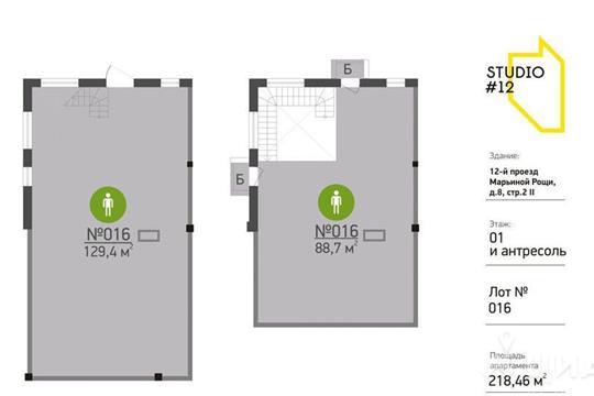 Квартира свободной планировки, 218.46 м<sup>2</sup>, 1 этаж
