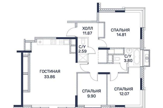 4-комнатная квартира, 88.9 м2, 13 этаж
