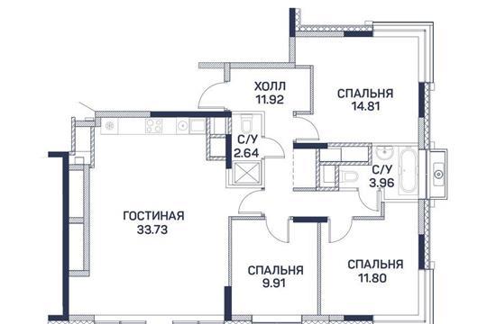 4-комнатная квартира, 88.77 м<sup>2</sup>, 19 этаж