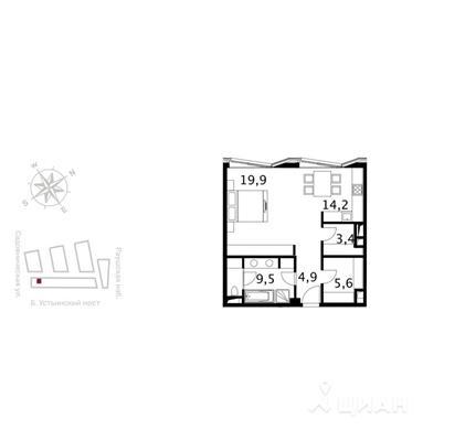 Студия, 60.5 м2, 4 этаж - фото 1