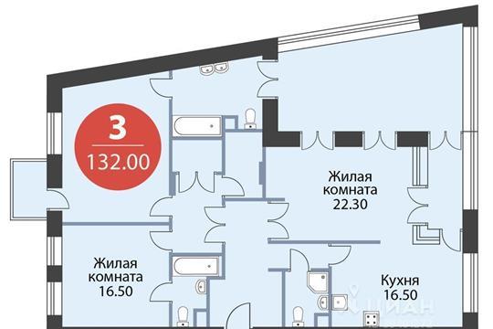3-комнатная квартира, 132 м<sup>2</sup>, 2 этаж