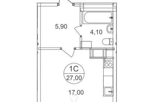 Студия, 27 м2, 4 этаж