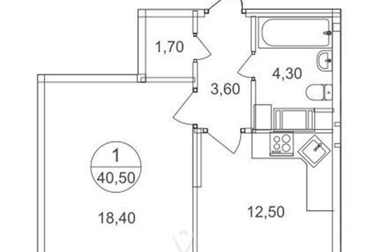 1-комнатная квартира, 40.5 м2, 6 этаж
