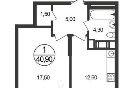 1-комнатная квартира, 40.3 м2, 3 этаж