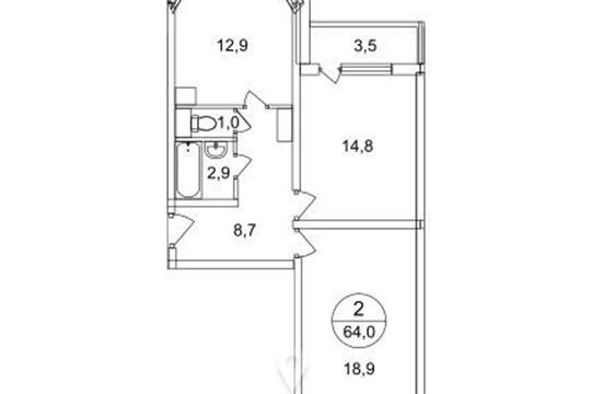 2-комнатная квартира, 63.9 м2, 9 этаж