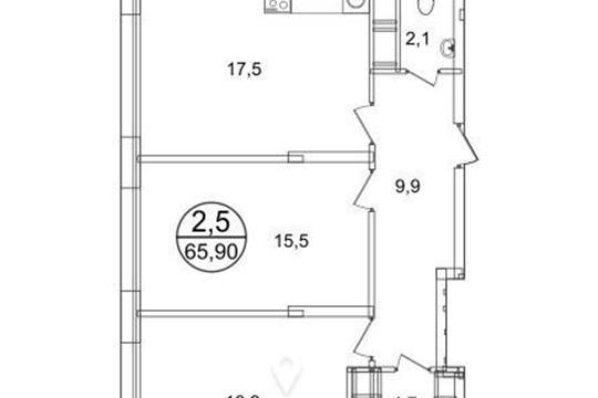 2-комнатная квартира, 65.9 м2, 3 этаж