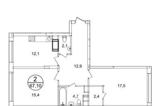 2-комнатная квартира, 67.1 м2, 14 этаж