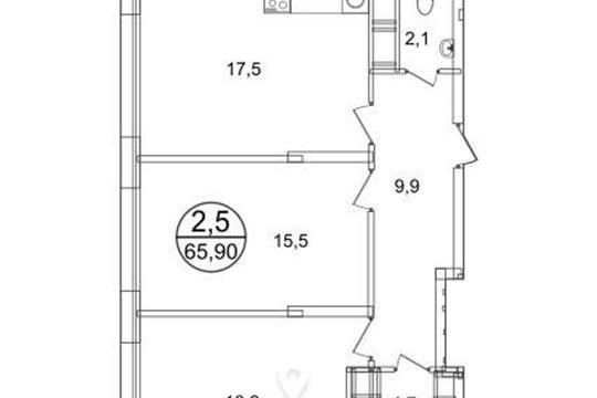 2-комнатная квартира, 65.9 м2, 8 этаж