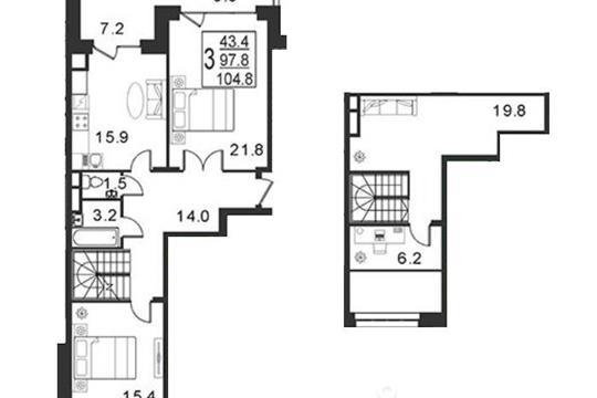 3-комнатная квартира, 104.8 м<sup>2</sup>, 3 этаж