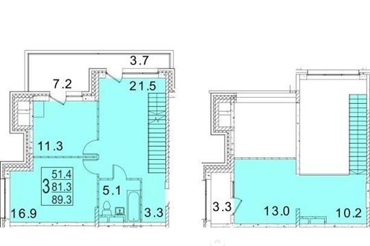 3-комнатная квартира, 89.3 м<sup>2</sup>, 3 этаж
