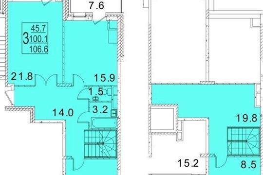 3-комнатная квартира, 106.6 м<sup>2</sup>, 3 этаж