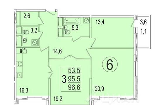 3-комнатная квартира, 97.3 м<sup>2</sup>, 2 этаж