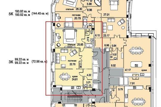 3-комн квартира, 99 м2, 3 этаж