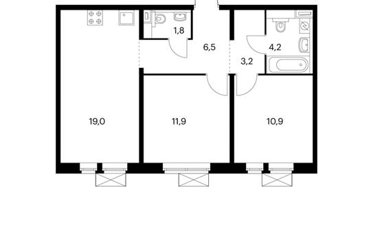 2-комнатная квартира, 57.5 м<sup>2</sup>, 7 этаж