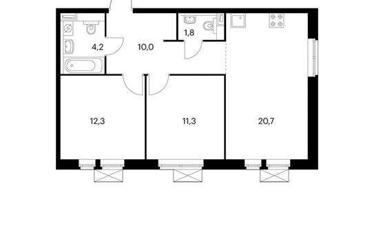 2-комнатная квартира, 60.3 м<sup>2</sup>, 14 этаж