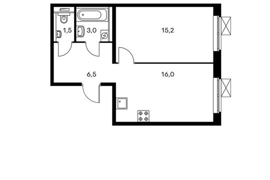 1-комнатная квартира, 42.2 м<sup>2</sup>, 3 этаж