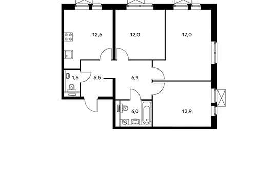 3-комнатная квартира, 72.5 м<sup>2</sup>, 18 этаж