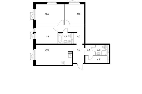 3-комнатная квартира, 90.4 м<sup>2</sup>, 7 этаж