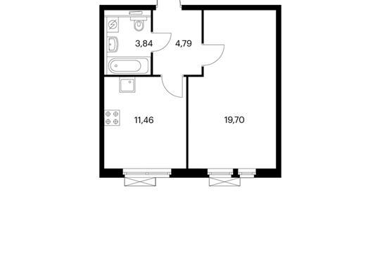 1-комнатная квартира, 39.76 м<sup>2</sup>, 9 этаж