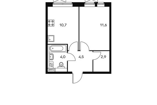 1-комнатная квартира, 33.7 м<sup>2</sup>, 25 этаж