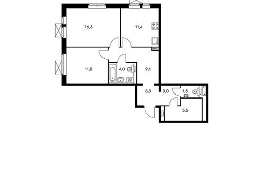 2-комнатная квартира, 65.9 м<sup>2</sup>, 4 этаж