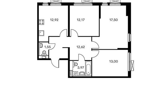 3-комнатная квартира, 73.73 м<sup>2</sup>, 3 этаж