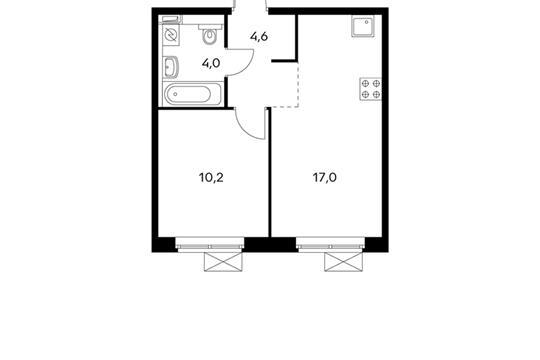 1-комнатная квартира, 35.8 м<sup>2</sup>, 5 этаж