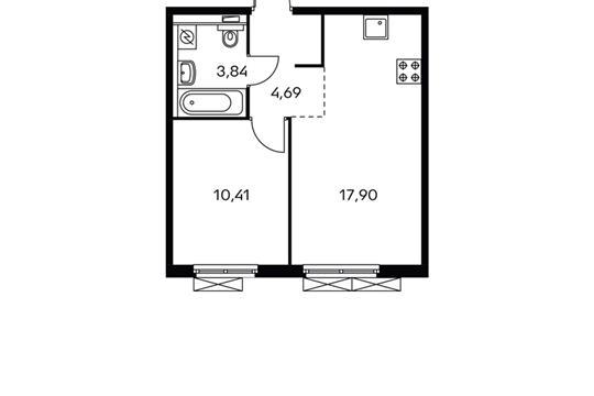 1-комнатная квартира, 36.19 м<sup>2</sup>, 6 этаж
