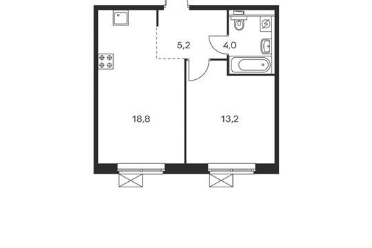 1-комнатная квартира, 41.2 м<sup>2</sup>, 6 этаж