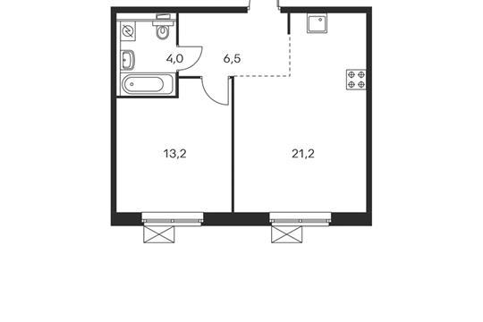 1-комнатная квартира, 44.9 м<sup>2</sup>, 15 этаж